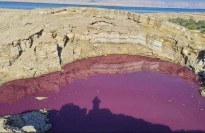 Un lago se tiñó de rojo sin causa alguna y causó impacto en los vecinos del lugar
